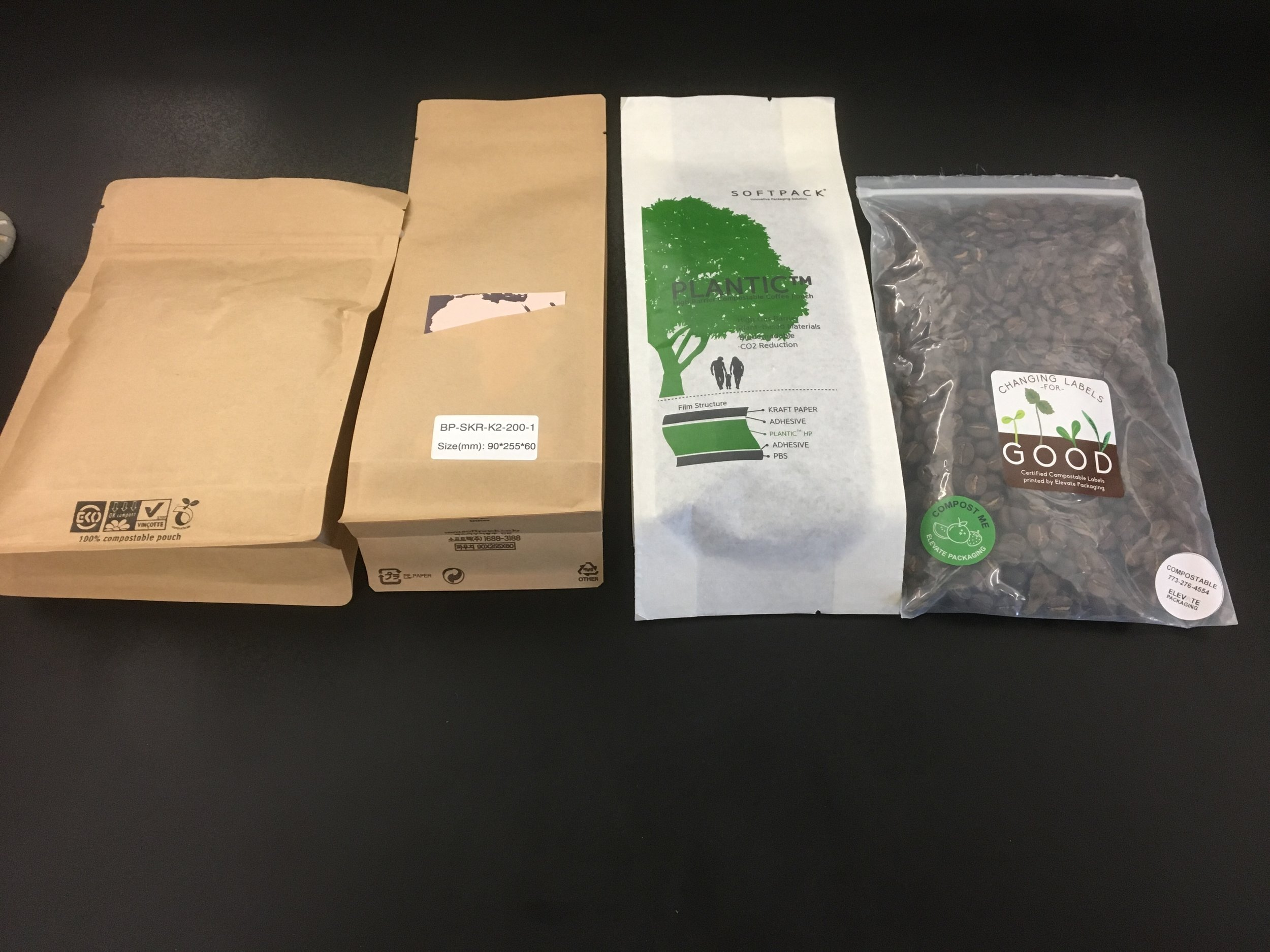 Some of the packaging KS Coffee has put through oxygen, heat sealing, and composting testing.