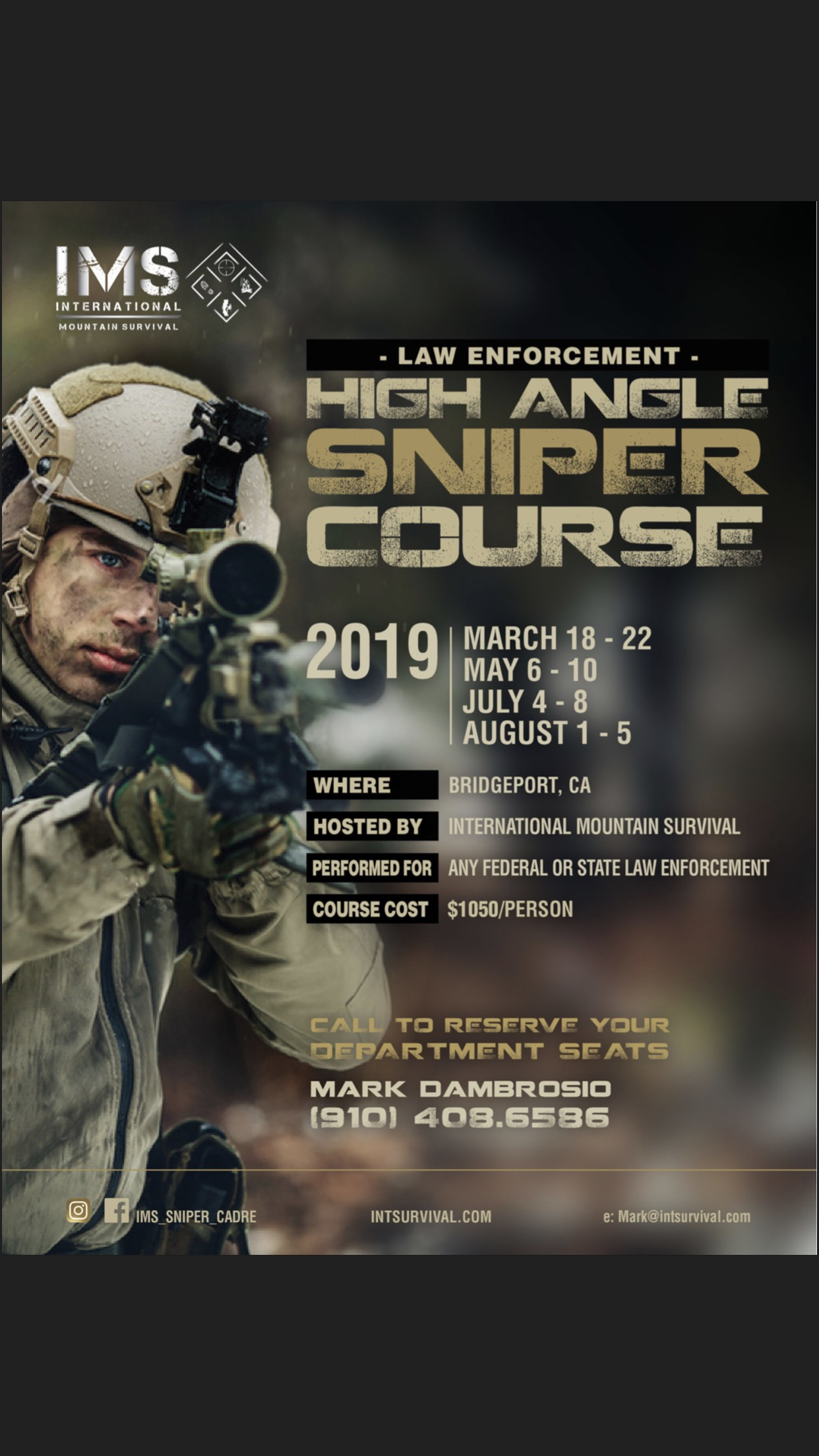 LAW ENFORCEMENT HIGH ANGLE SNIPER - Course conducted in Bridgeport Ca.Course cost is $1050 per student for the 5 days.For custom courses or for us to come to you, see below.