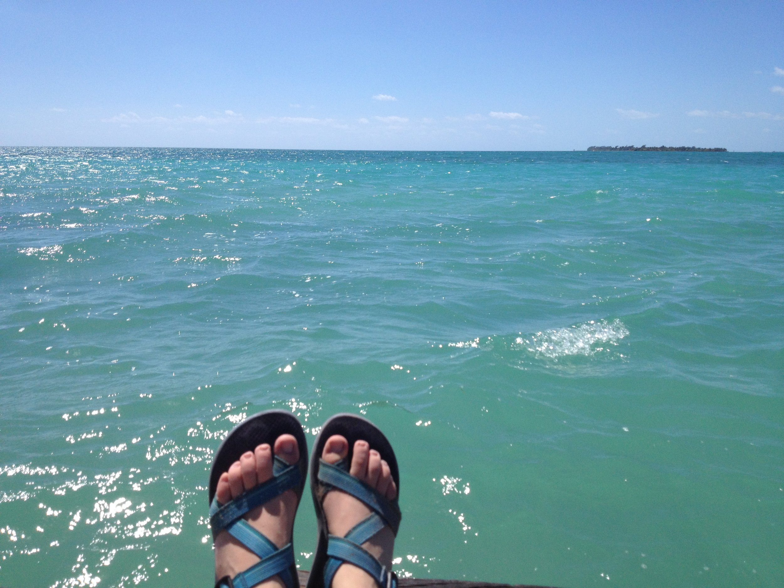 My Chacos over the water in Belize.  Because when you're praying and Jesus is healing you, you have to take a picture of it to make sure it really happened.