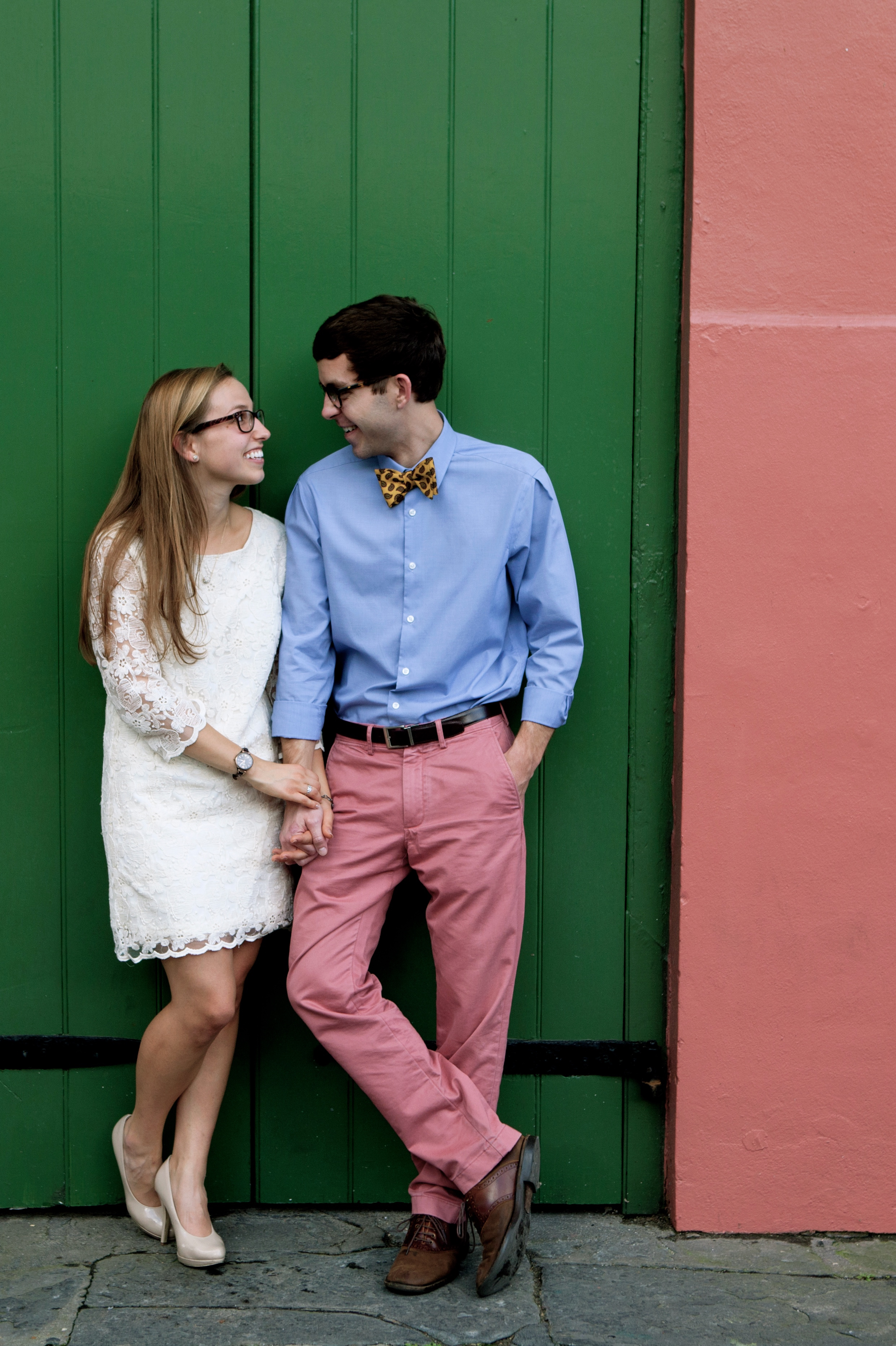 One of the cool things about living and taking engagement pics in New Orleans is that you can find houses that match your brightly colored pants.