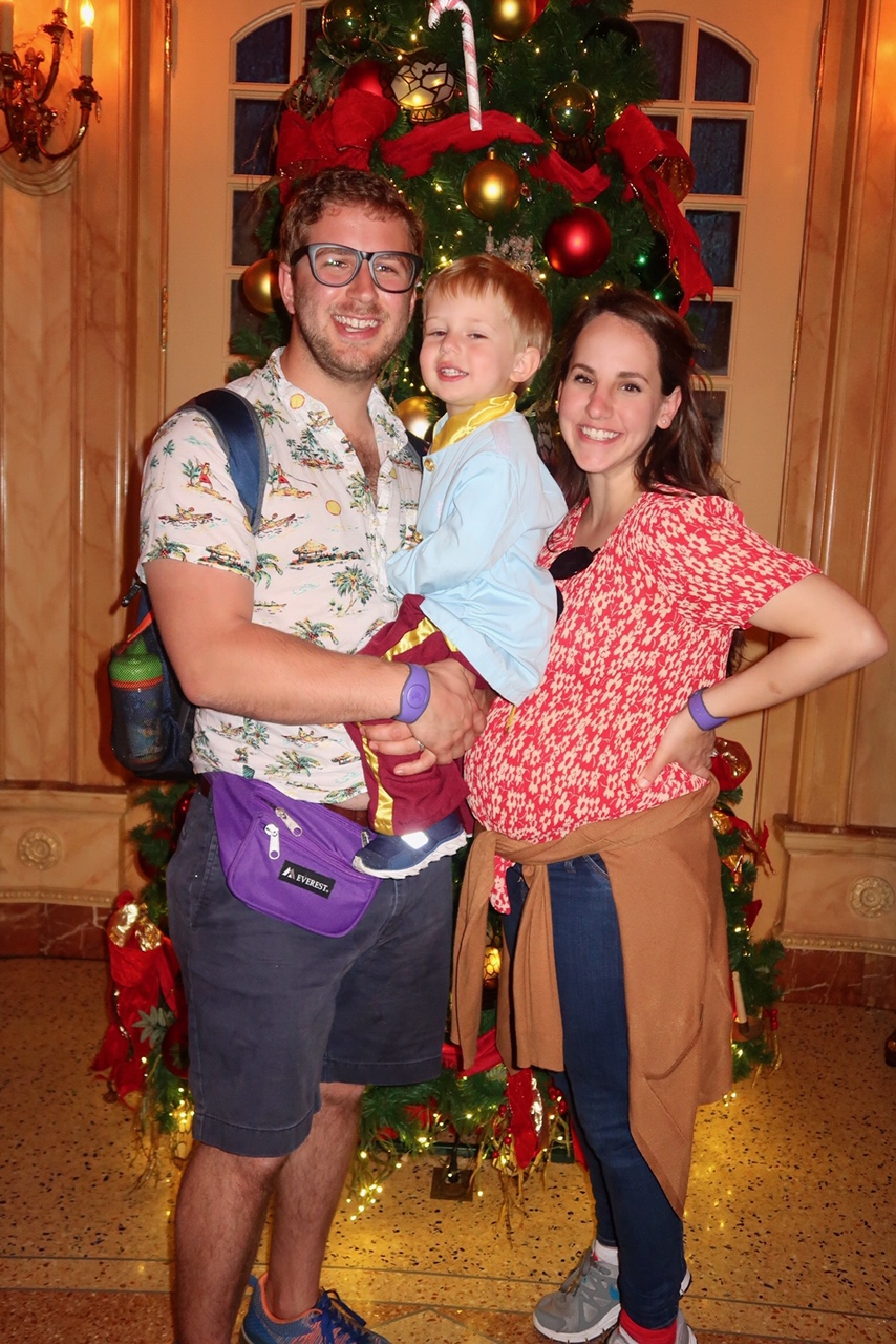 be our guest (dalton carrying patrick and a fanny pack; gen carrying baby lena)