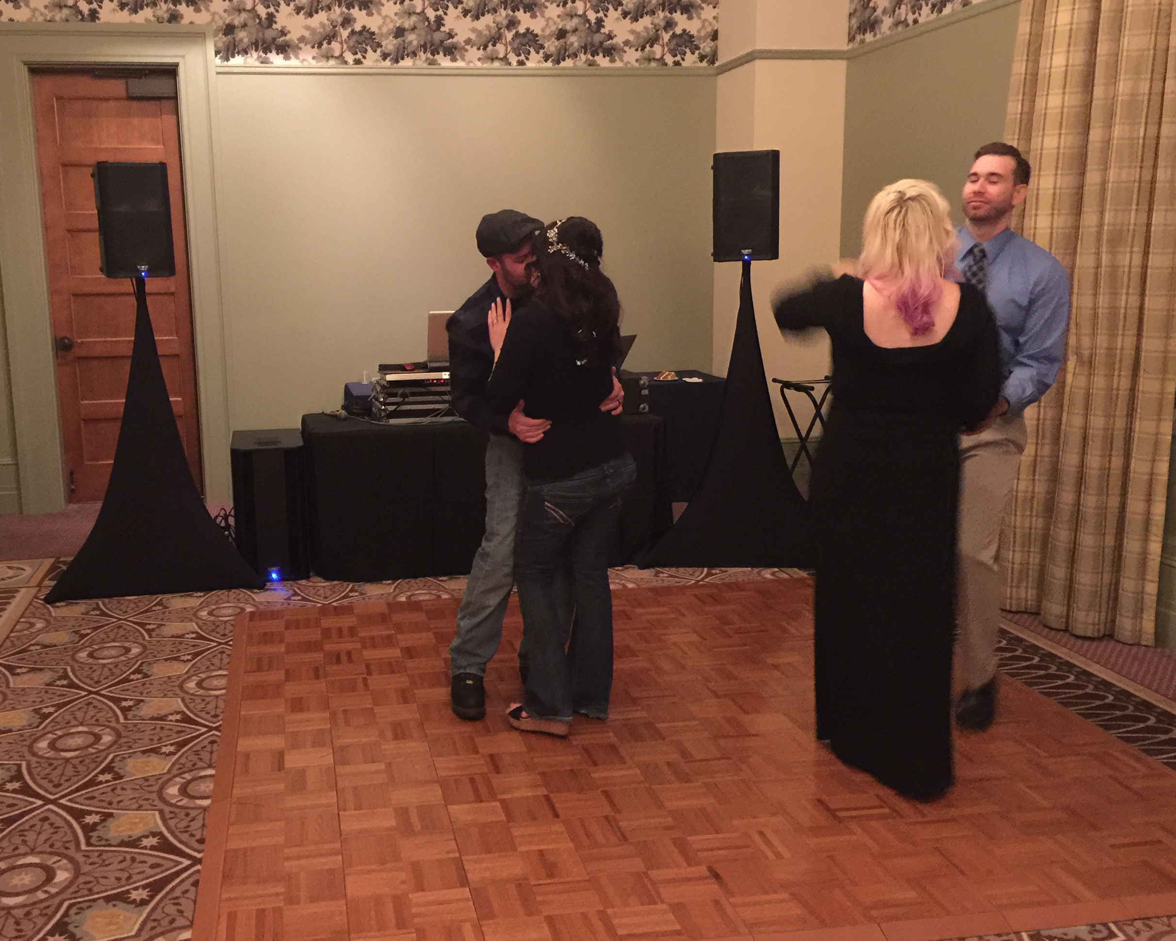 Here the bride, groom and the sister of the bride and her boyfriend have the last dance of the evening. And, lived happily ever after!!!!