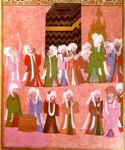 Mohammed at the Kaaba. Miniature from the Ottoman Empire, c. 1595.