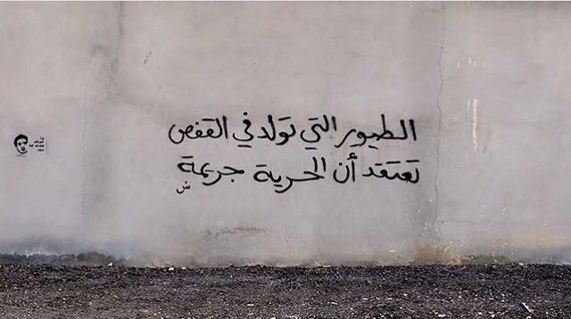 "الرياض - Riyadh ""Birds born in cages, think freedom is a crime"" #saudistreetart"