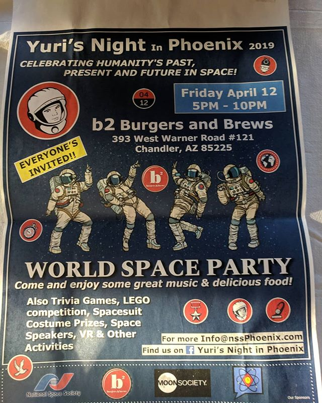 Right now celebrating #yurisnight with @realtimesteam and Phoenix Space Society. Come enjoy cool space stuff, bring your kids have them do space crafts and build with #legos