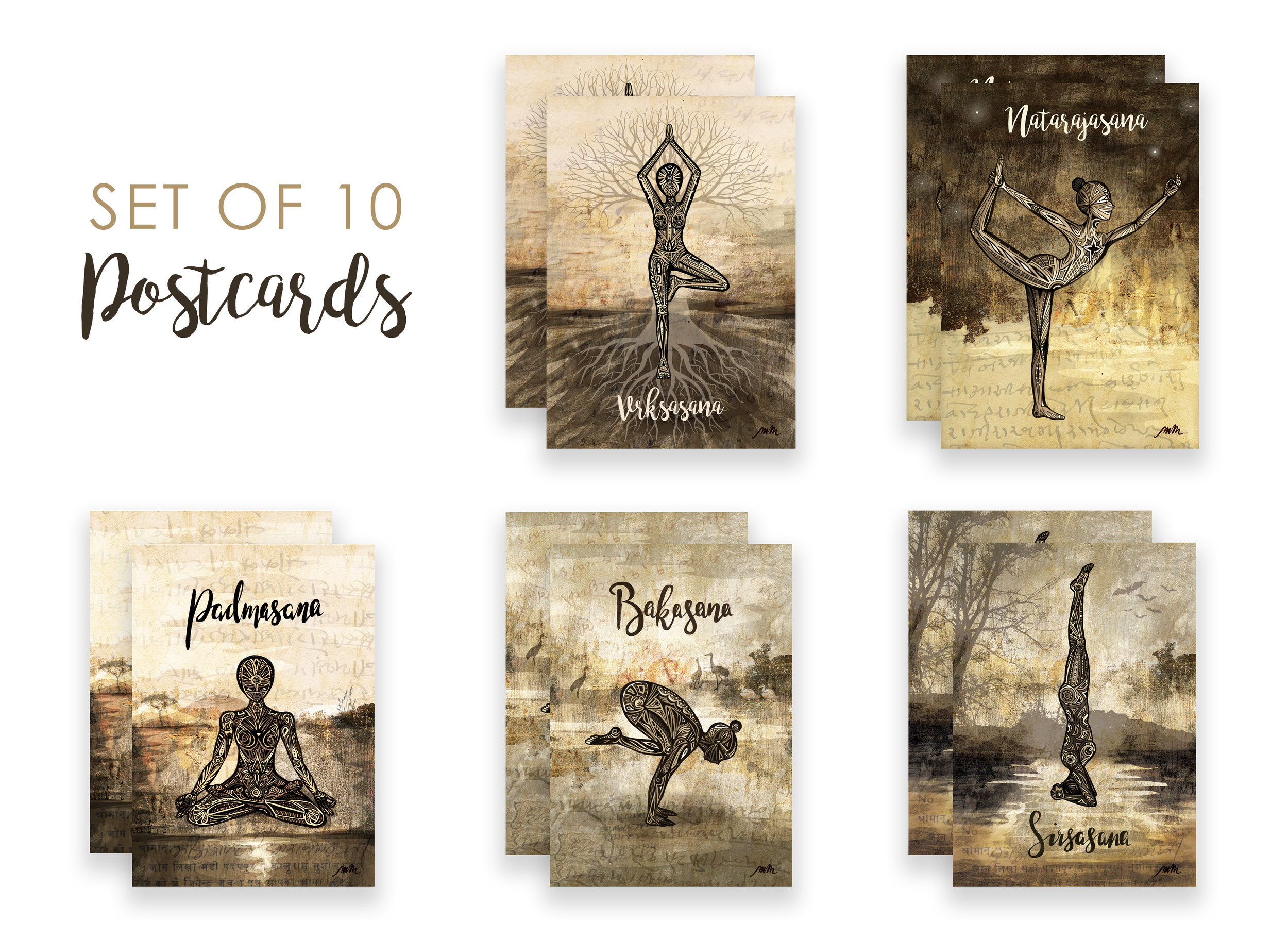 Set of 10 Yoga Postcards - A6 size, blank on reverse. Perfect for sending thoughtful messages / £12