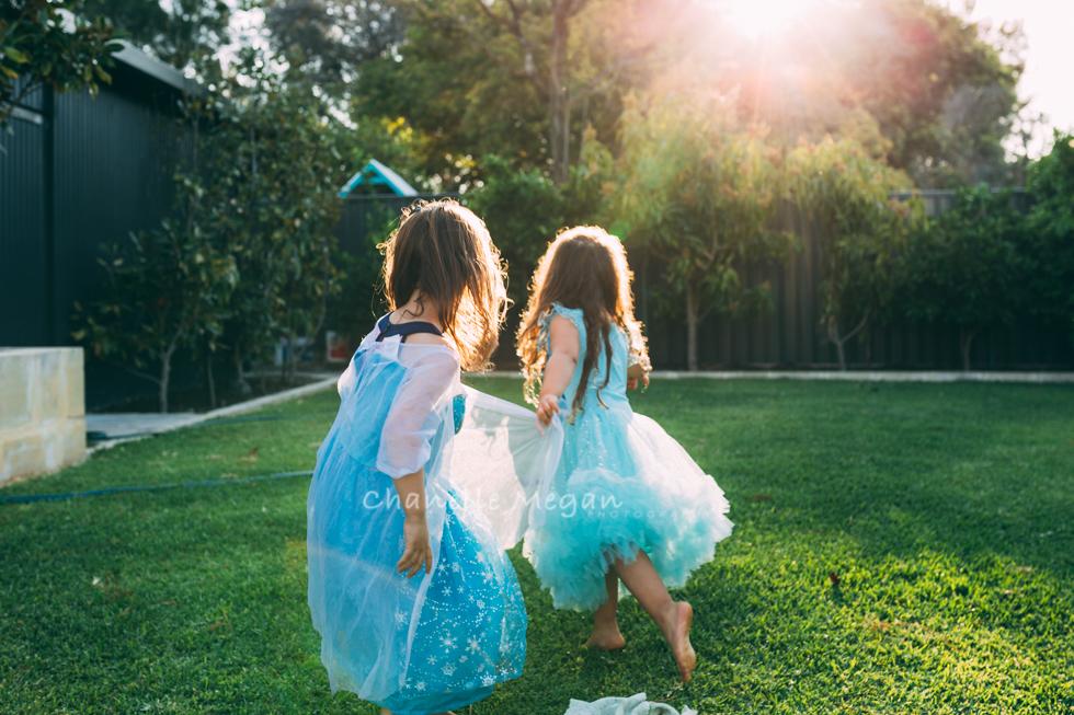 two friends running away