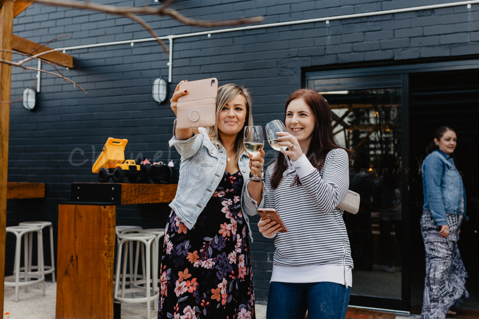 It's ok to have wine and take a selfie too. A photo within a photo captured by Chanelle Megan Photography at Blasta Brewing Co in Perth during a Perth Mamas event