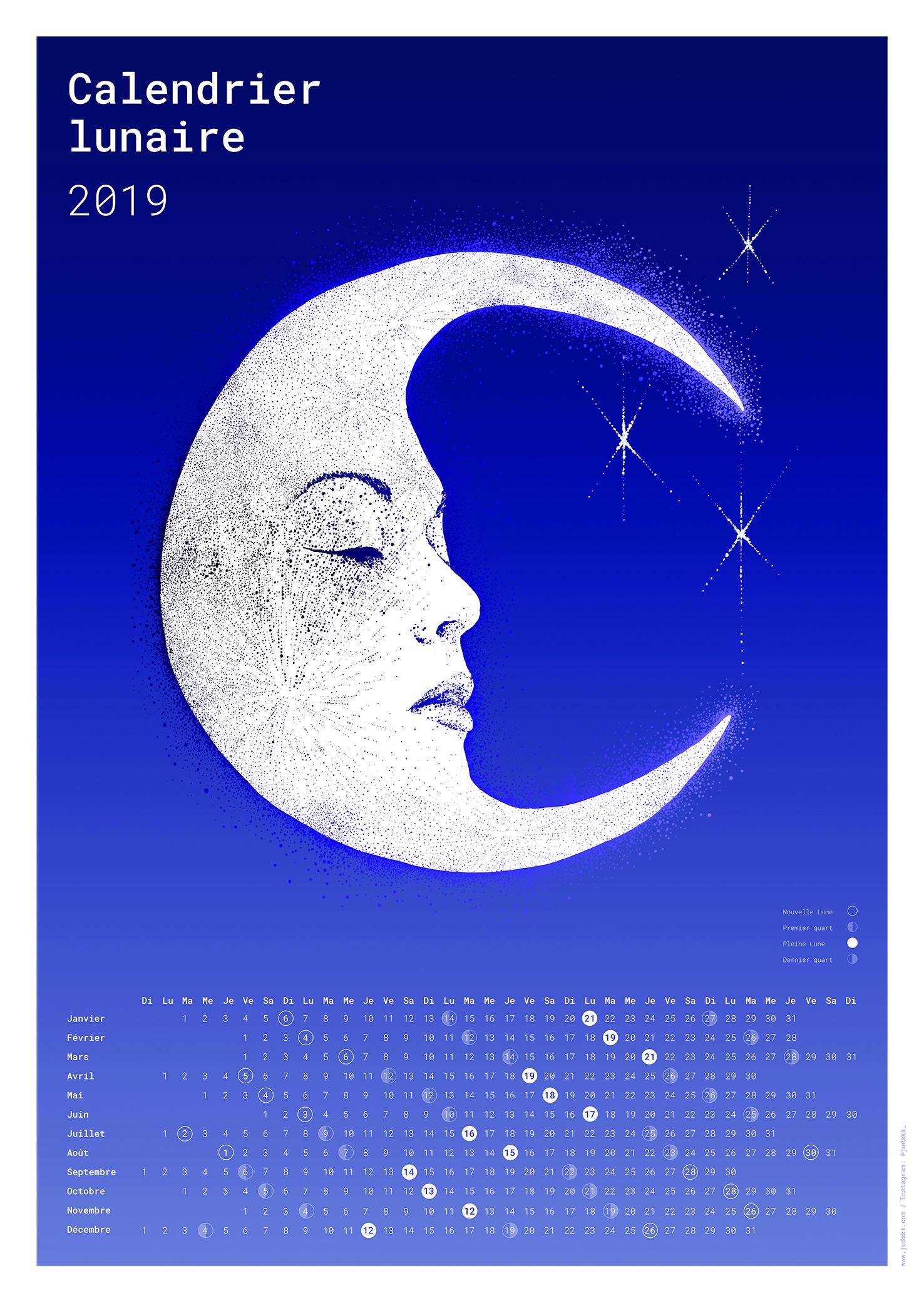 NEW - Calendrier Lunaire 2019 - Papier photo glacé, 190g/m2Format A2, 420 x 594 mm40.-, sur commande ou dispo au studio+5.- de frais de port pour la Suisse