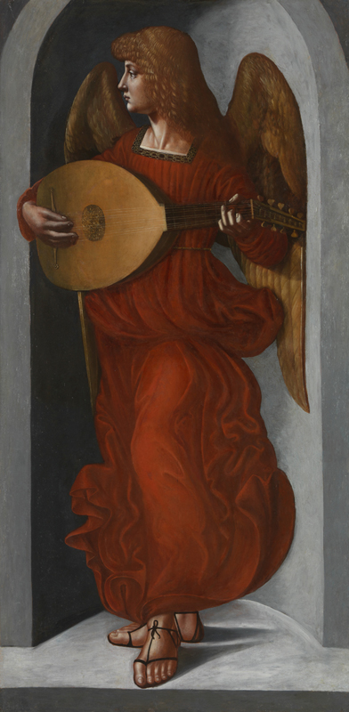 ca. 1495-9 Giovanni Ambrogio de Predis 'An Angel in red with a Lute'