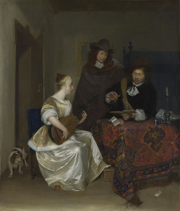 A Woman playing a Lute to Two Men  about 1667-8, Gerard ter Borch.jpg