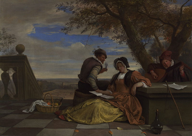 Two Men and a Young Woman making Music on a Terrace  about 1670-5, Jan Steen.jpg