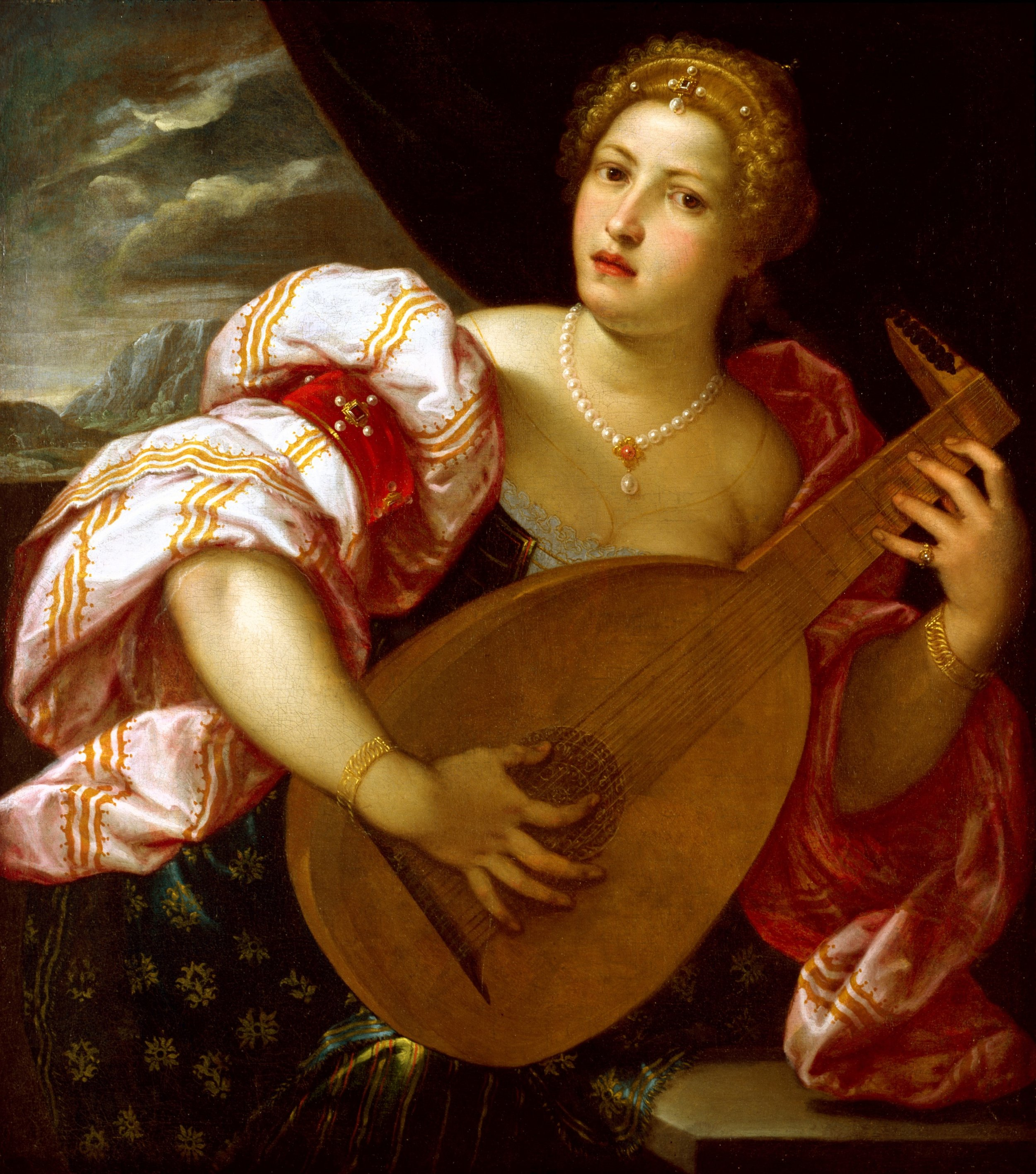 Thumb Out Example - Parrasio Micheli: Young Woman Playing a Lute