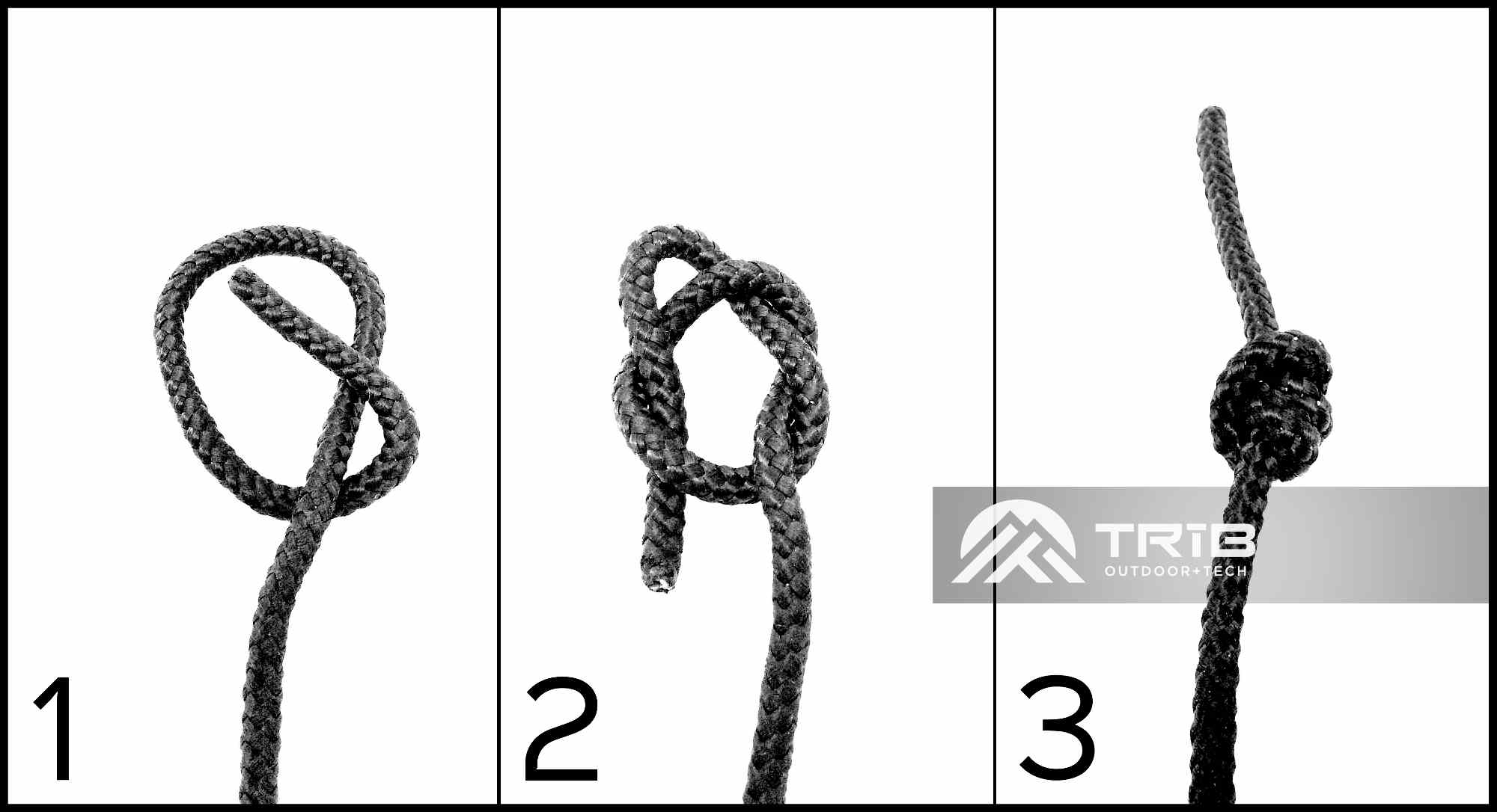 Basics steps for tying a double overhand knot