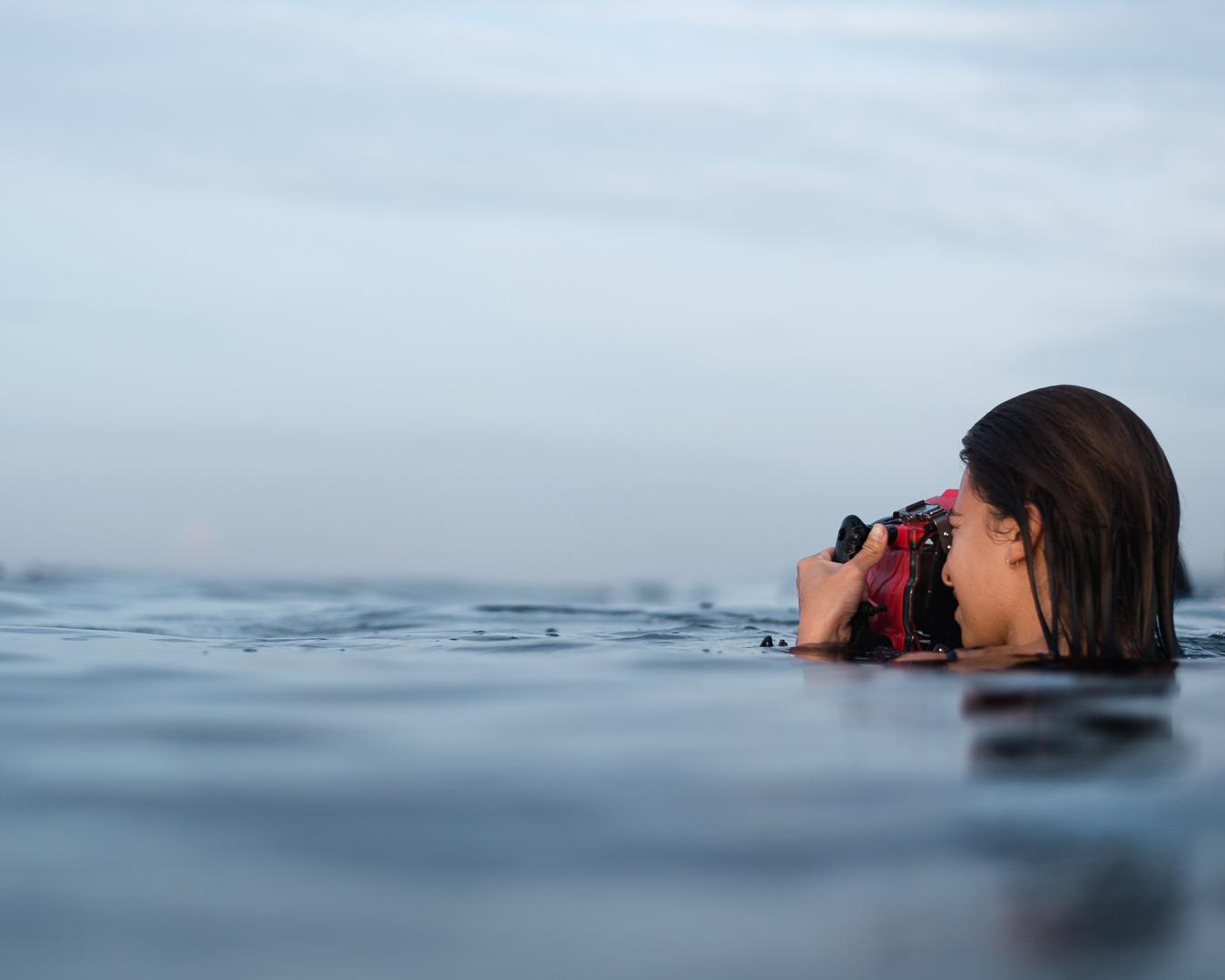 Alexa with her Aquatech underwater housing.