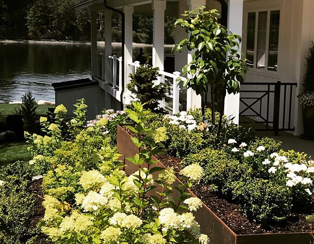 Love how this entryway courtyard turned out! #steelplanters #modernfarmhouse #courtyard #waterfront #reikowdesign #hydrangeas