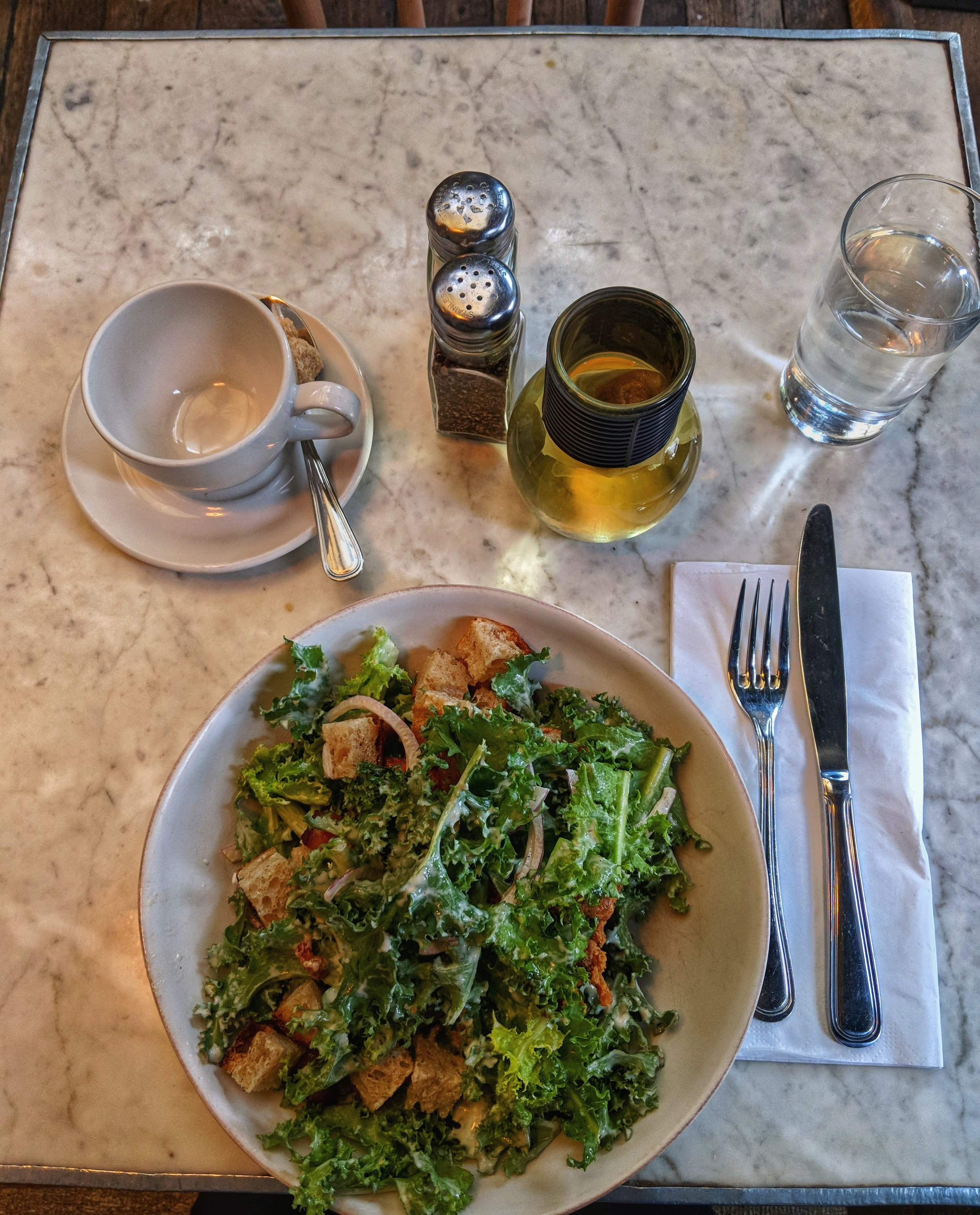 Delicious Chicory and Fried Chicken Salad with chamomile tea from   Cafe Colette   in Brooklyn, NY.