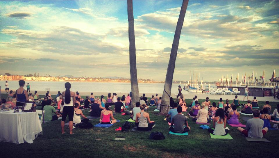 Core Power Yoga   session on Mission Bay in San Diego. Can it get more perfect?