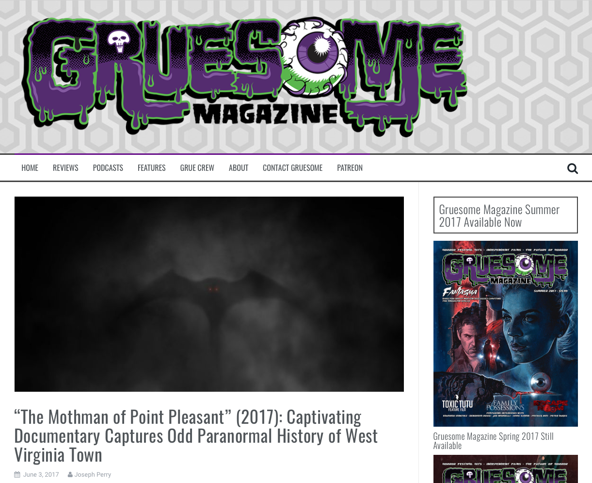 "Review: Gruesome Magazine (6/3/17)   In a review on The Mothman of Point Pleasant, the writer wrote, ""Brandon Dalo's score skillfully enhances the proceedings."""