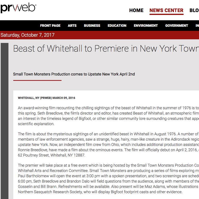 Blog/Website Article: Pr Web (3/9/16)   Brandon is mentioned in an article about the upcoming Beast of Whitehall premiere.