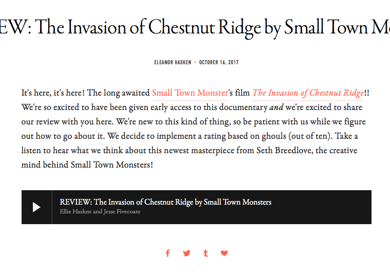Podcast Review: Encounters Podcast (10/16/17)   Brandon is mentioned in this podcast review of the new Invasion on Chestnut Ridge documentary.