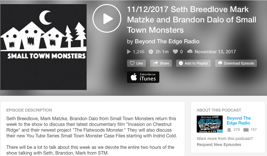 Podcast Interview: Beyond the Edge Radio (11/12/17)   Brandon was interviewed on Beyond the Edge Radio along with the Director of the Small Town Monster series, Seth Breedlove, and narrator Mark Matzke. Brandon talks about some of the behind the scenes of the score and in helping on set for the film.