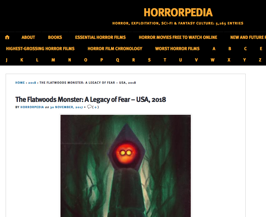 "Blog Article: Horrorpedia (11/30/17)   Brandon is mentioned in a newspaper article about the upcoming documentary ""The Flatwoods Monster""."