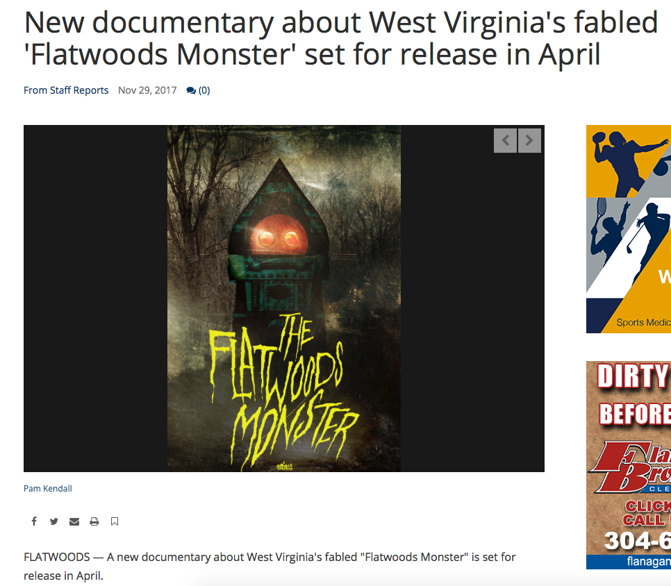"Newspaper Article: The Exponent Telegram (11/29/17)   Brandon is mentioned in a newspaper article about the upcoming documentary ""The Flatwoods Monster""."