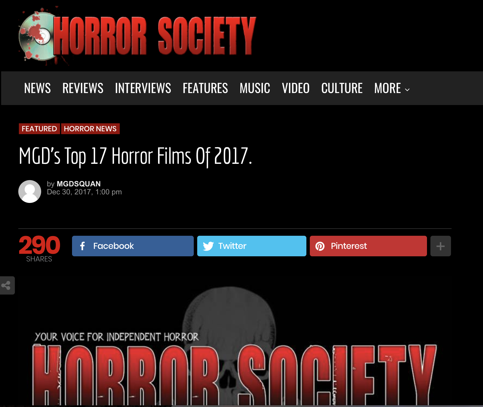 "Blog Article: Horror Society (12/30/17)   Horror Society has listed two Small Town Monsters documentaries in their ""Top 17 Horror Films of 2017."""