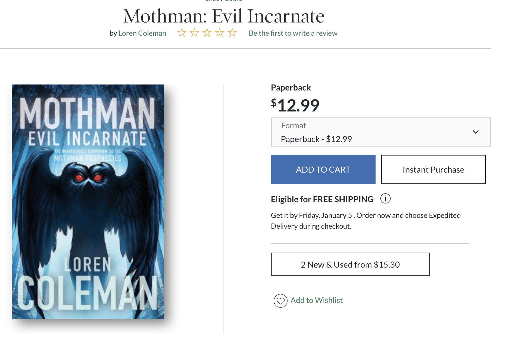 "Book Mention: Mothman: Evil Incarnate   A new book on the Mothman has just been released by our friend, the leading cryptozoologist Loren Coleman called ""Mothman: Evil Incarnate"". In it, he devotes a chapter to documentaries on the Mothman legend, and gives a generous amount of space to our documentary! Brandon's name is also mentioned while he's talking about the score."