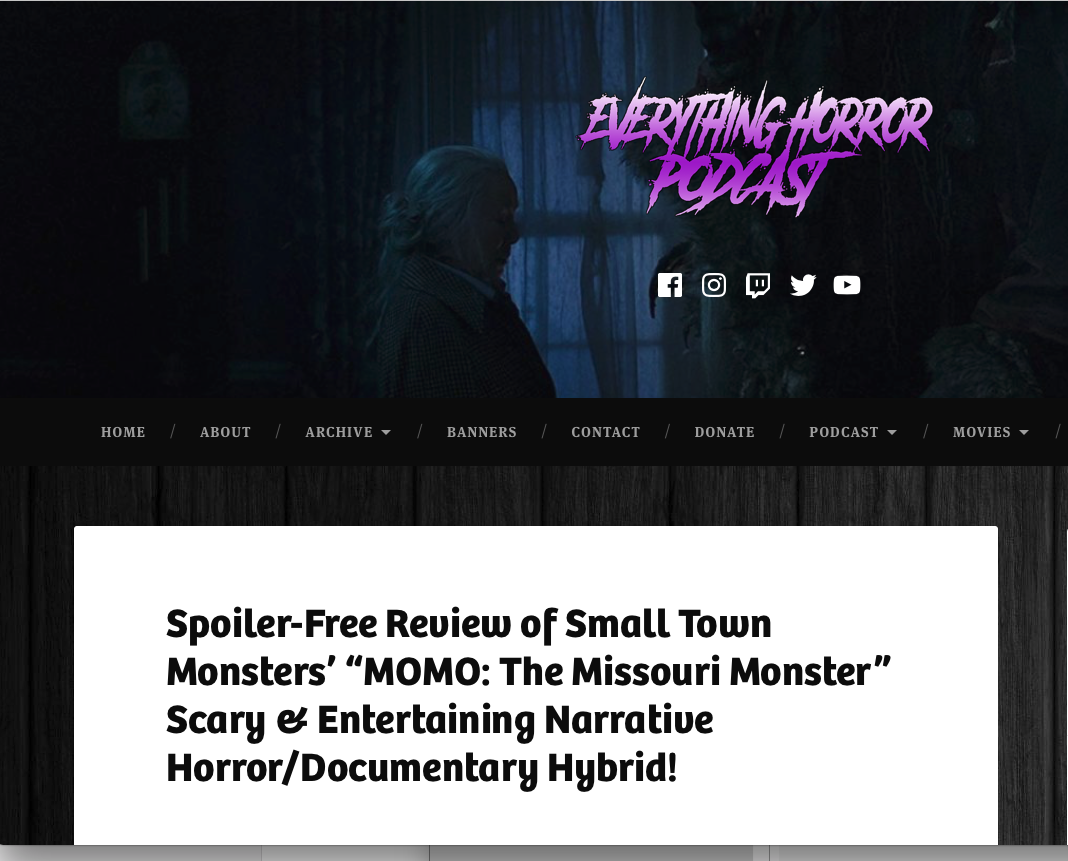 """Review: Everything Horror Podcast (8/22/19)   Everything Horror Podcast calls Brandon's score for MOMO """"Hauntingly beautiful."""""""