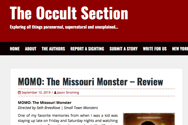 """Review: The Occult Section (9/10/19)   The Occult Section says Brandon's score for MOMO is """"…amazing."""""""