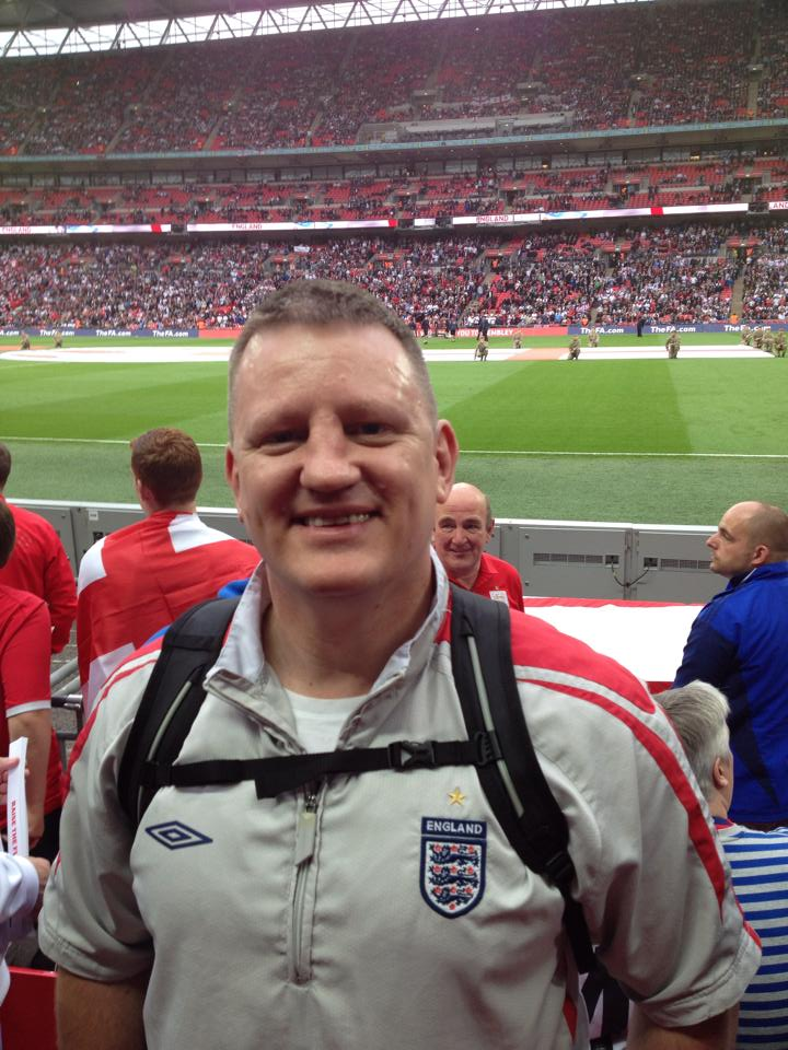 Wembley for England V Peru....Sporting my best Doofus haircut!