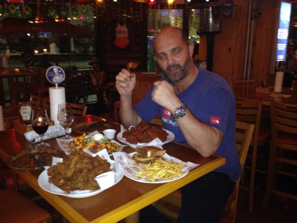Sean with the 'light snack' he ordered for us!