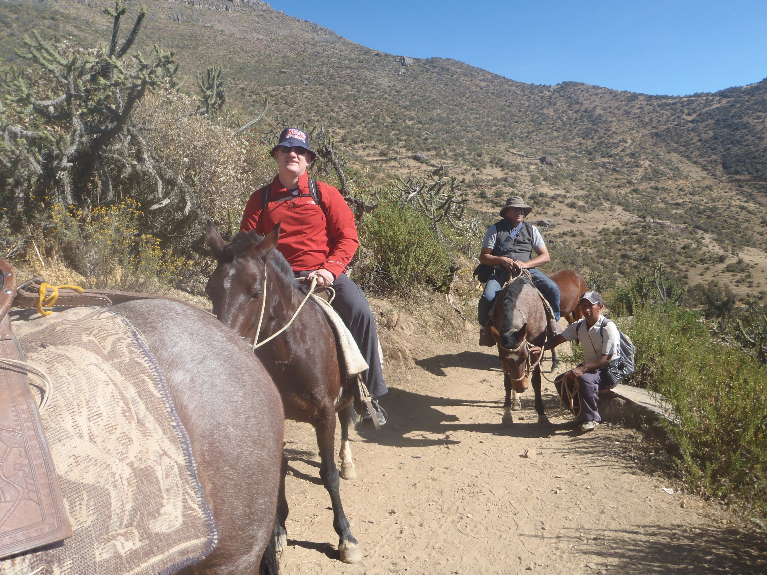 Me on the 'Gas powered' horse & Jose on the horse behind.