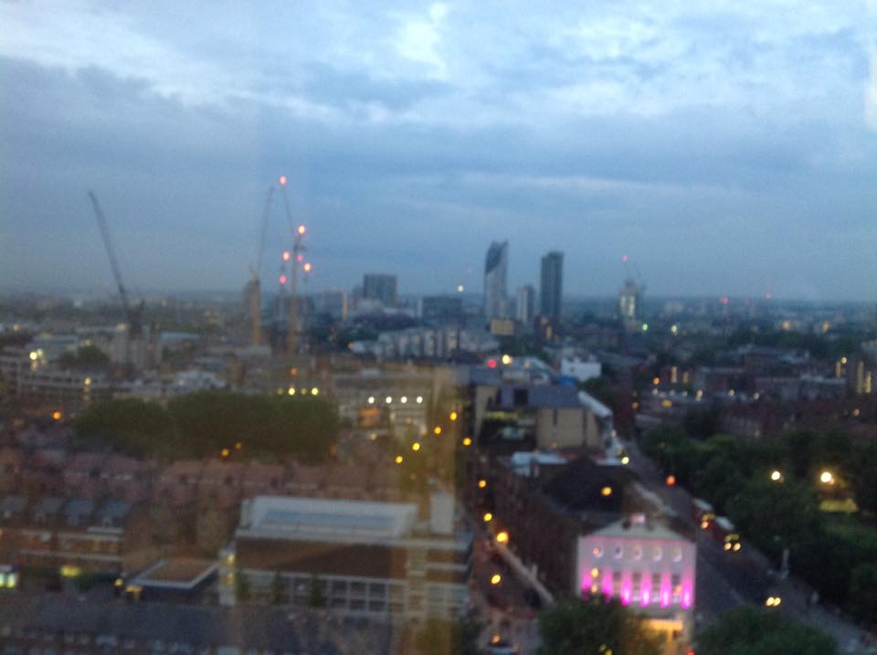 "View from my hotel room....note the pink lit up building bottom right? that's the 'Old Vic"" Theater, where at that very point in time Kevin Spacey was probably being inappropriate"
