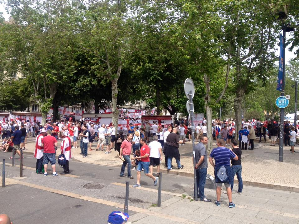 'England' in St Etienne square