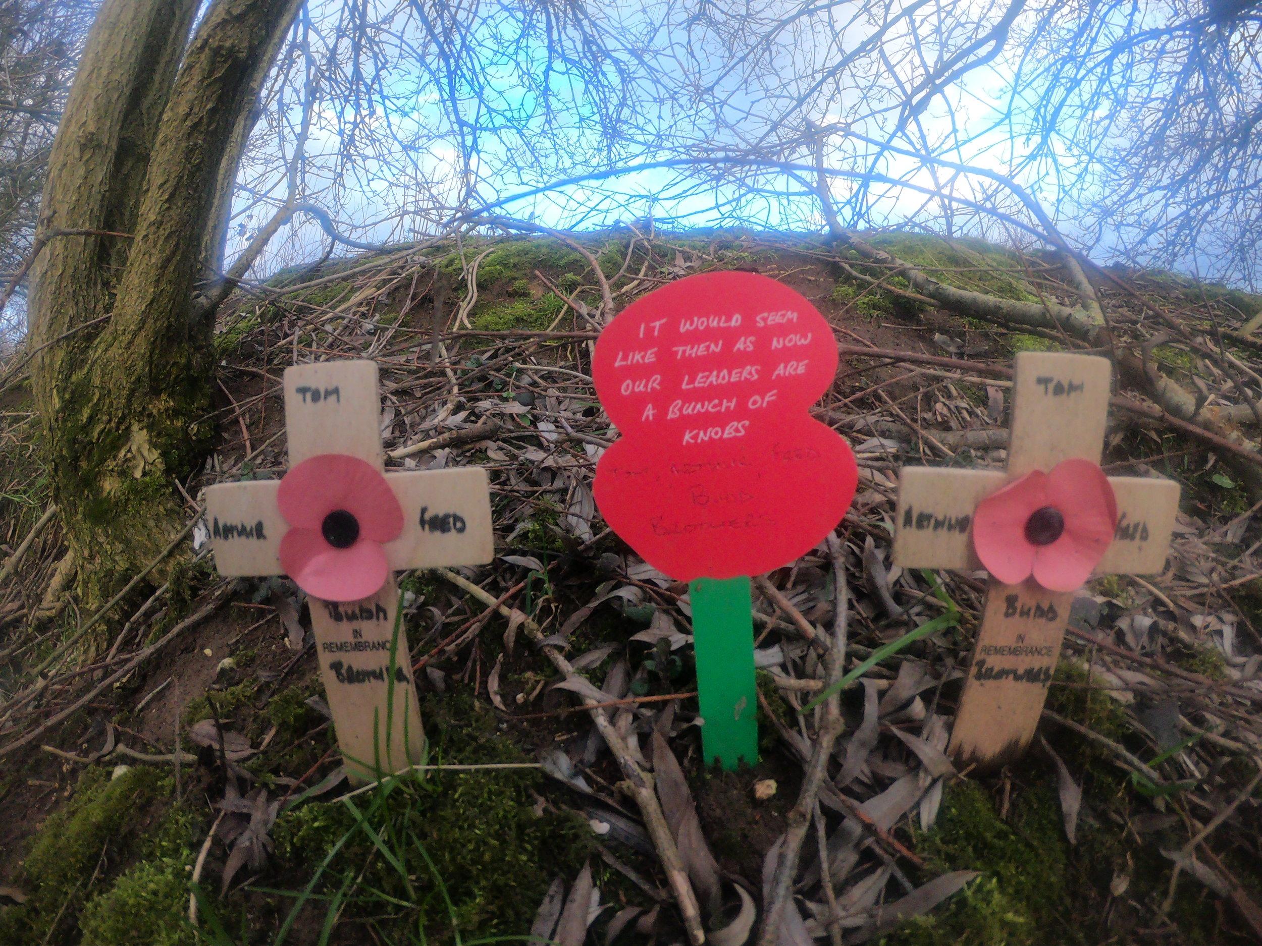 A message left at the 'Sunken Road' near Beaumont-Hamel.