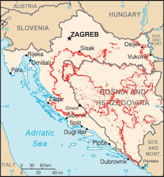 Landmine contaminated areas in the Former Yugoslavia