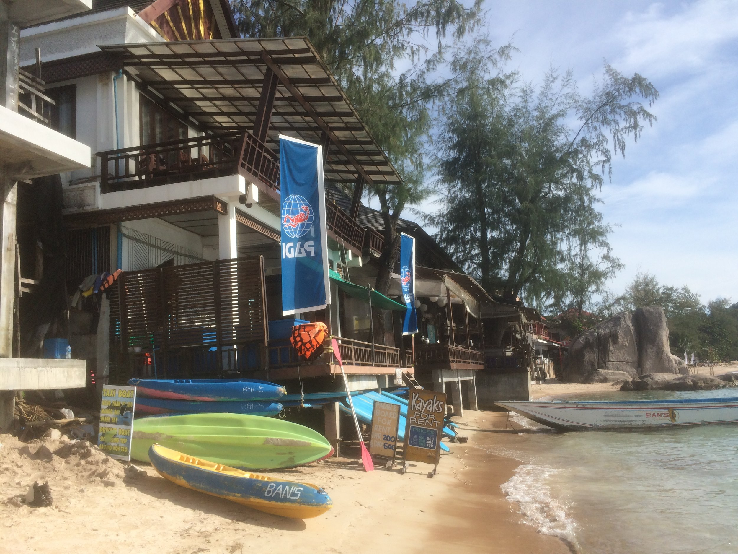 The Beach front of Bans, where you board the speedboat to head out to the larger dive boats.
