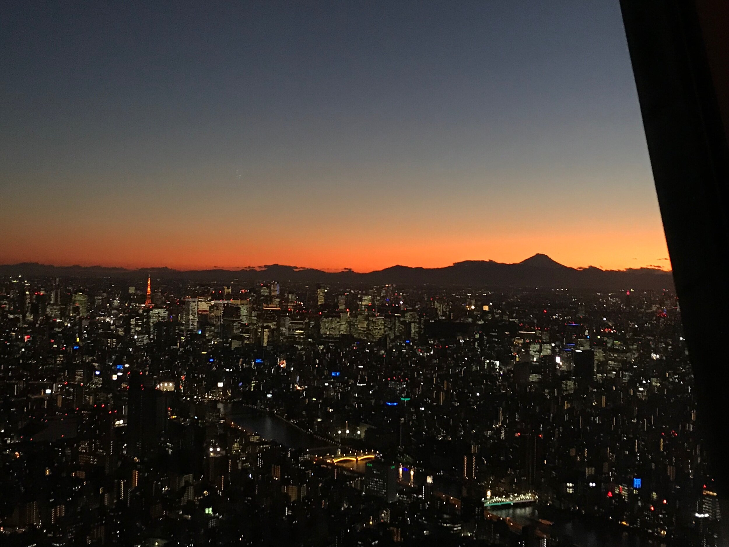 Sunset from the Tower, Fuji on the skyline.