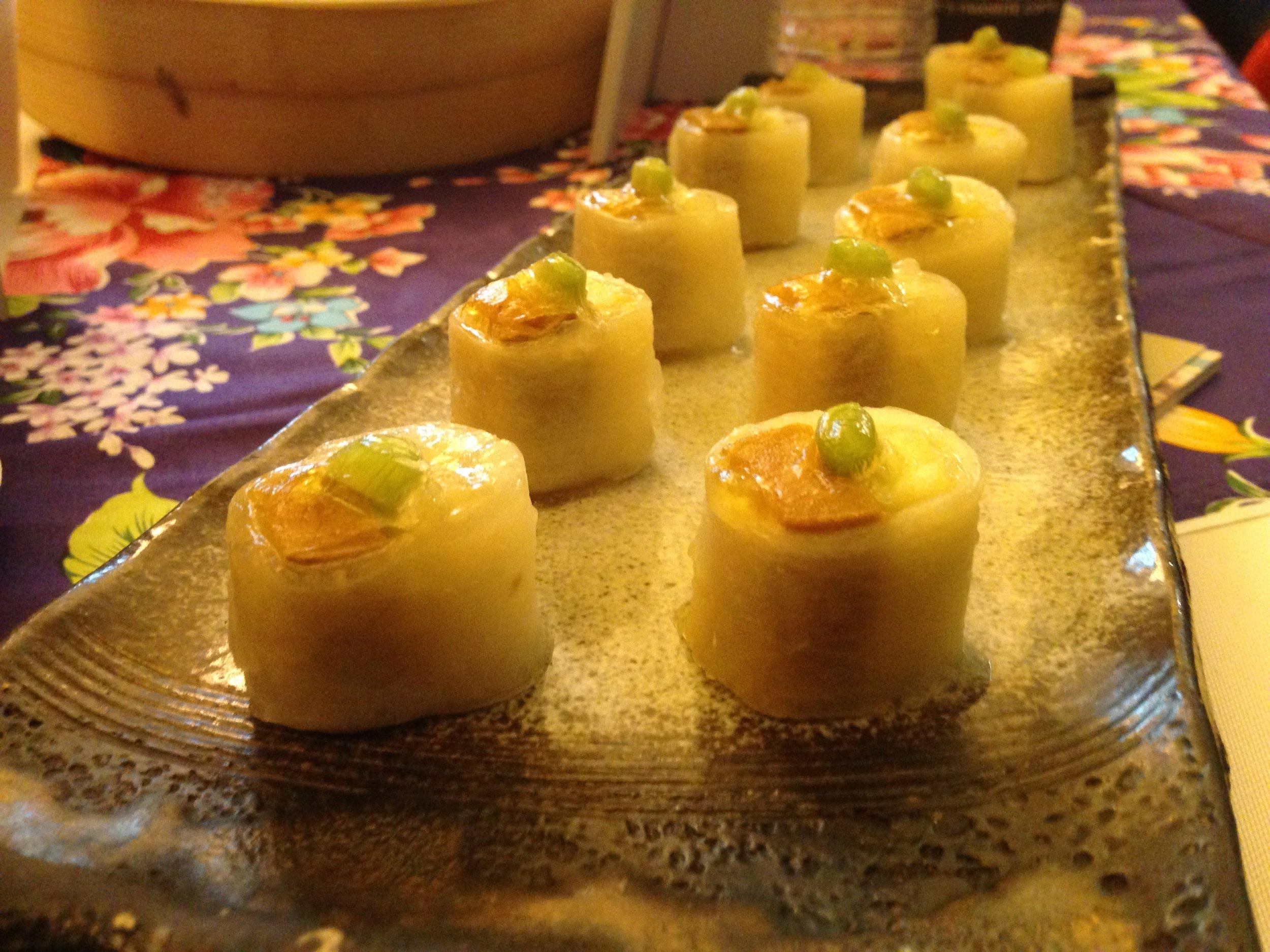 Taiwanese caviar mullet (mullet fish, turnip, and leek) samples from  Taiwan Shin Yeh International Group .