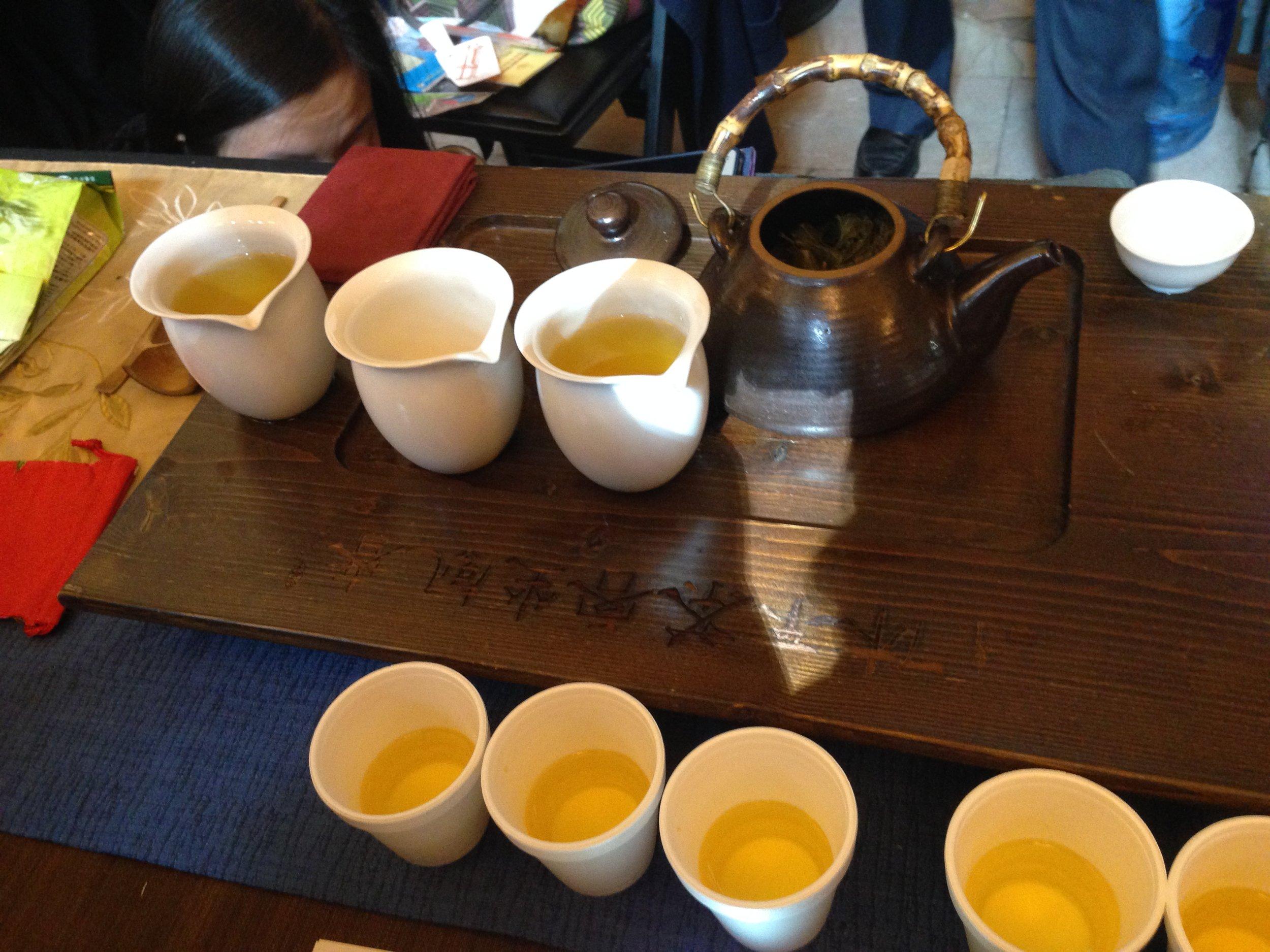Samples of Taiwanese high mountain-grown oolong tea from  Fang Gourmet Tea .