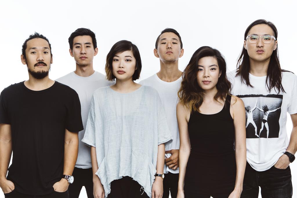 Left to right: Alex Hwang (lead vocalist and acoustic guitarist), Joe Chun (bassist), Sally Kang (keyboardist), Daniel Chae (violinist), Jennifer Rim (violinist), and John Chong (drummer).  Photo Credit:Run River North