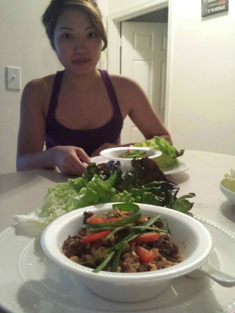 Homemade lettuce wraps with tofu, beef, scallion, and chestnut filling