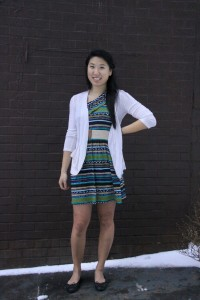 Karen Guo, 22 - StudentChineseHow would you describe your style?Comfortable and colorful but complemented with something simple.What does self-expression mean to you?Self-expression is being true to yourself instead of trying to always go with the trends, being comfortable with what you're wearing and showing off what you've got!What inspired your look today?Bringing color to a gloomy day and looking forward to flowers in the spring.What are you currently wearing?h.i.p cardiganrue21 dressDSW shoesWhat is one fashion accessory you can't live without?Cardigans!