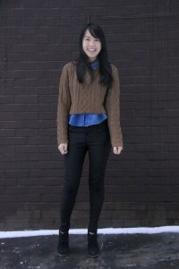 Jessica Zheng, 22 - Nursing studentChineseHow would you describe your style?Cutesy and comfortable.What defines your type of fashion?I buy whatever is comfy. I have a carefree and cheerful personality, and how I dress reflects that.What inspired your look today?I saw a similar style at American Apparel and bought something similar and put it together. It's a comfortable look to study in, but it's fashionable at the same time!What are you currently wearing?Akira sweaterAmerican Apparel denim shirtForever 21 jeansShoeMint shoesWhat is one fashion accessory you can't live without?Blazers, which are comfortable and versatile. You can wear them during the day and also at night for going out without changing!