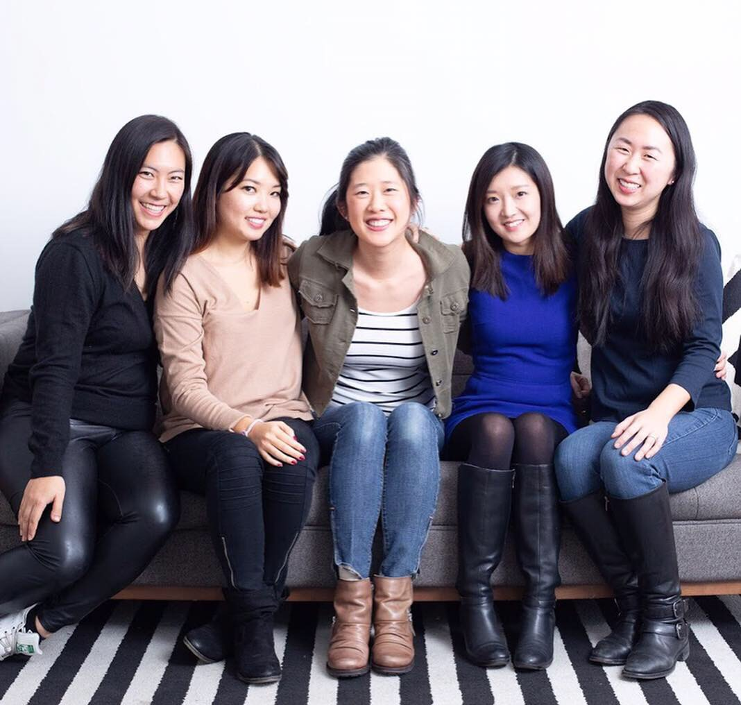 From left to right:  Mochi  Co-founder Stephanie Wu, Executive Editor Kelly Moon, Editor-in-Chief Jennifer Duann Fultz, President Alice Tang and Founder Maggie Hsu.