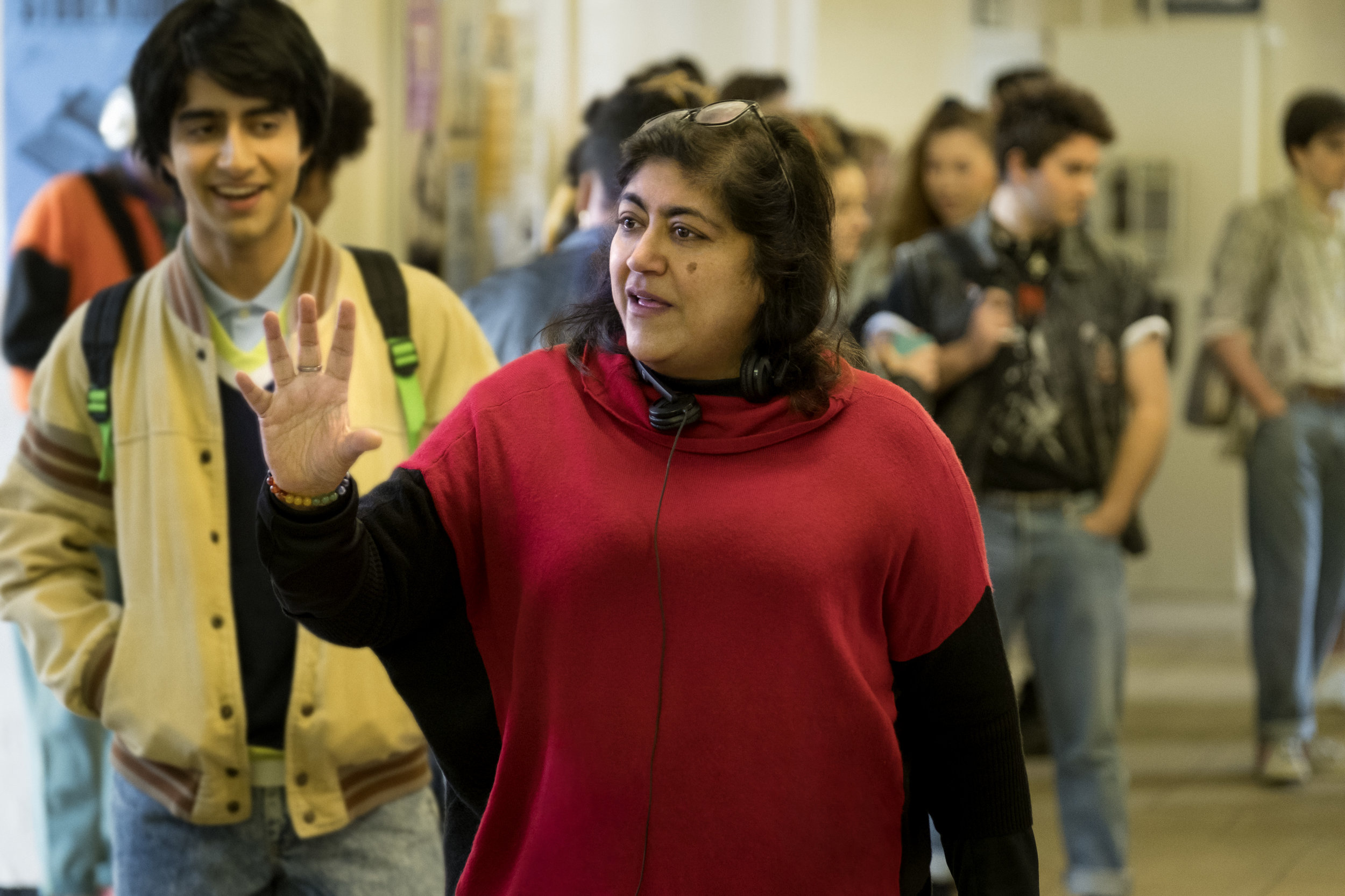 (L-r) VIVEIK KALRA and director GURINDER CHADHA on the set of New Line Cinema's inspirational drama BLINDED BY THE LIGHT, a Warner Bros. Pictures release. Copyright: © 2019 WARNER BROS. ENTERTAINMENT INC. Photo Credit: Nick Wall