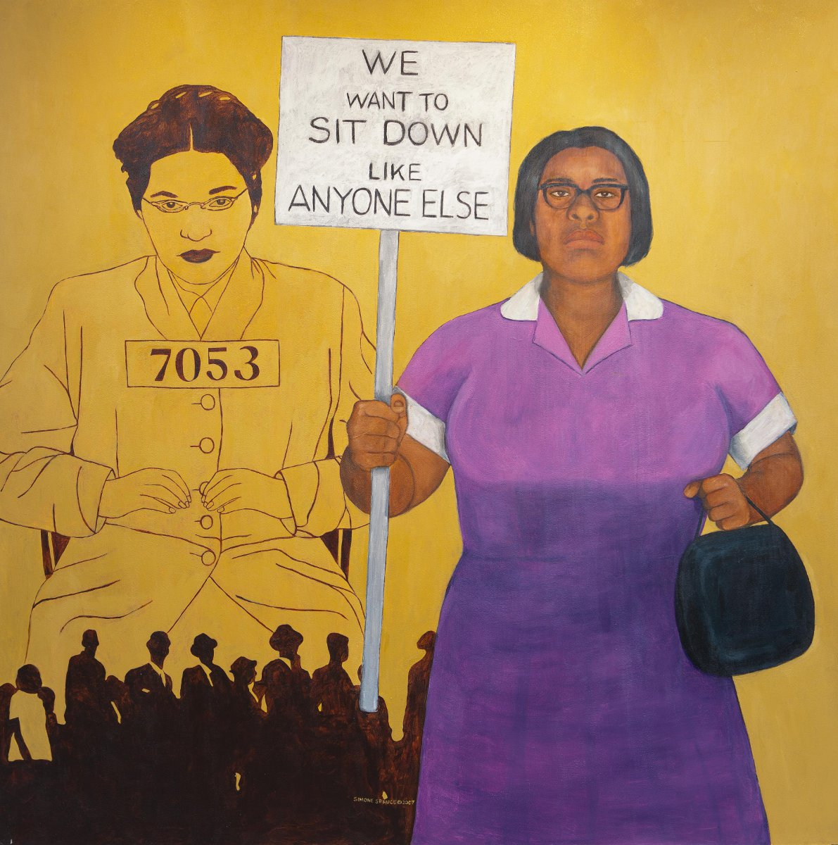 The painting on the Home Page: From the series Reflections: Women of Color Merrari McKinney and Rosa Parks Acrylic on Masonite 4 feet x 4 feet 2007
